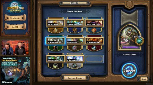 Hearthstone's next update will let you borrow a friend's deck and play it against them
