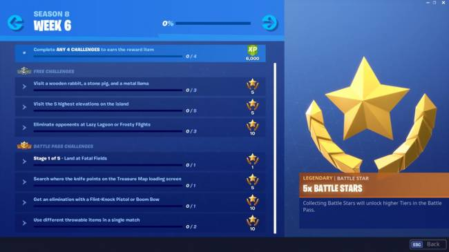 Fortnite Week 8 Challenges: Highest Elevations; Wooden Rabbit, Stone Pig, Metal Llama; And More