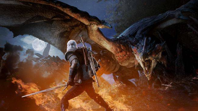 Geralt is finally coming to Monster Hunter: World on PC next month