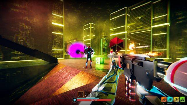 Hypergun is a neon roguelite FPS with weird weapons and petty office politics