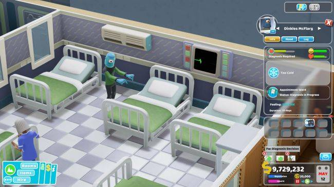 Two Point Hospital probes aliens in the Close Encounters DLC