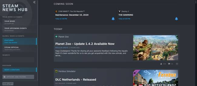 The Steam News Hub is now live for everyone