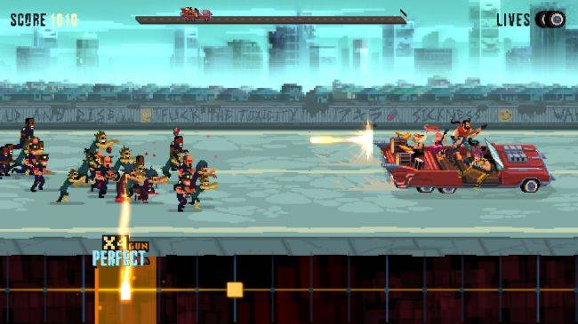 Cruise along in an armored Cadillac in metal rhythm shooter Double Kick Heroes