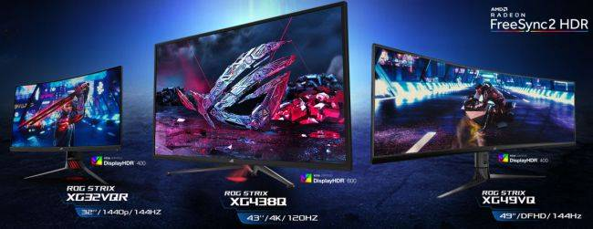 Asus launches 32-inch, 43-inch, and 49-inch FreeSync 2 HDR monitors