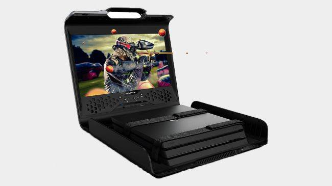 GAEMS' Sentinel is a briefcase monitor for business people who need to game mid-meeting