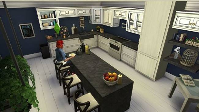 To practise for our The Sims 4 Tiny Living building competition, I built a giant kitchen