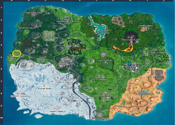 Fortnite: Fortbyte 58 – Accessible by using the Sad Trombone emote at the north end of Snobby Shores