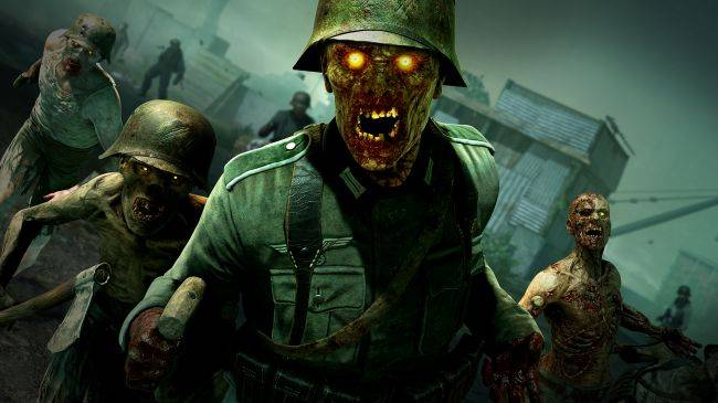 Zombie Army 4: Dead War gameplay shows four players stomping zombie heads