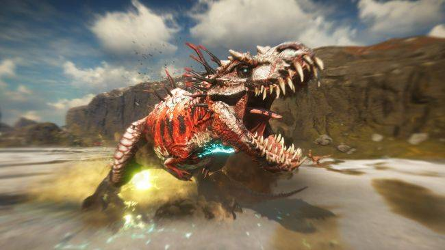 Watch humans fight mobs of mutant dinosaurs in this Second Extinction gameplay footage
