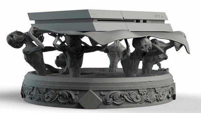 Check out this wonderfully creepy fan made Bloodeborne-themed PS4 stand
