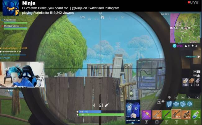 'Fortnite' streamer breaks 500k viewers with help from Drake