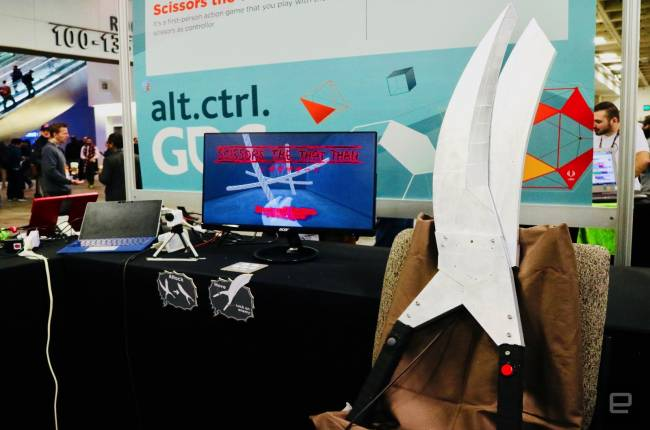 Giant scissors are your controller in this quirky first-person action game