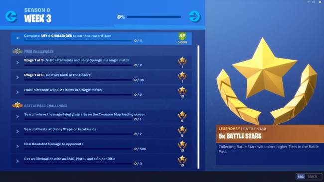 Guide To Fortnite Week 3 Challenges: Destroy Cacti, Treasure Map Search, And More (Season 8)