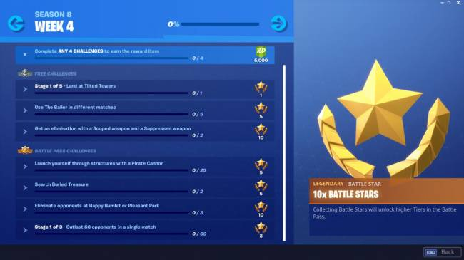 Fortnite Week 4 Challenge List: Use Baller, Search Buried Treasure, And More (Season 8)