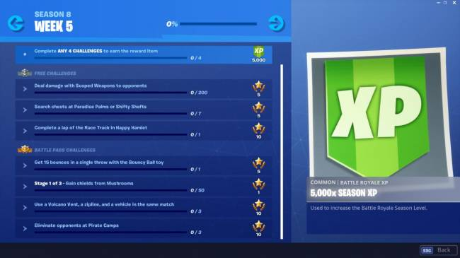 Fortnite Challenge List: Bouncy Ball, Mushroom Shields, And More (Season 8, Week 5)