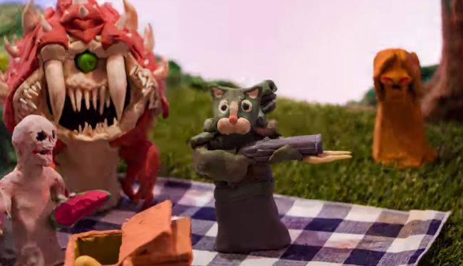 Watch a gun-toting cat massacre demons in this amazing Doom Eternal claymation short