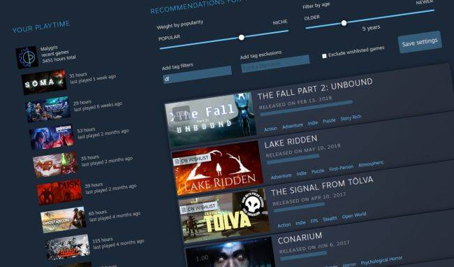 Steam's Interactive Recommender is now built into the store to help you find hidden gems