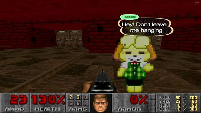 Animal Crossing's Isabelle gives Doomguy high fives, shoots demons in new mod