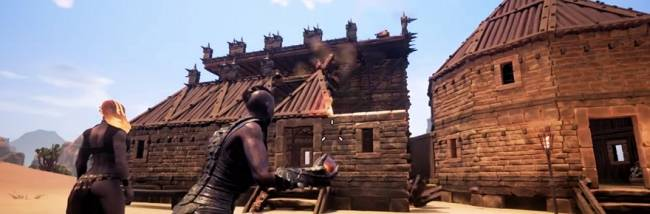 Conan Exiles on environmental siege effects, pets, trade, and Zelda-like climbing