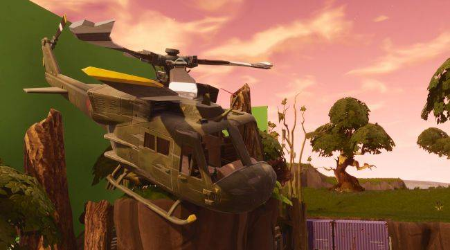 Find easy Fortnite Battle Pass points between a bench, ice cream truck, and helicopter