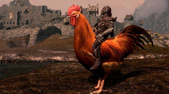 You know you want this mod that lets you ride giant ducks and chickens in Skyrim