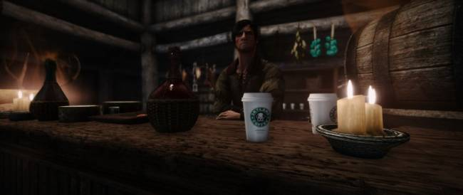 Skyrim Mod Makes Fun Of Game Of Thrones' Starbucks Cup Mistake