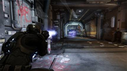 Climb Out Of The Space Ship For The First Person Shooting Demo