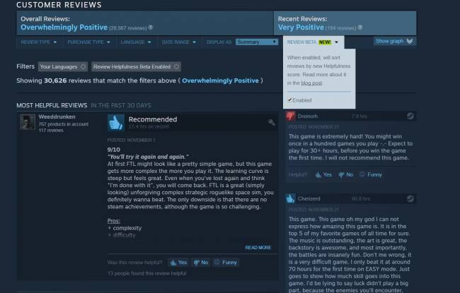 Steam tweaks community reviews to fight spam