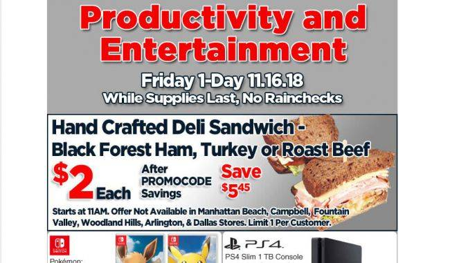 Fry's Black Friday ad lists hand-crafted sandwich for nearly 75 percent off
