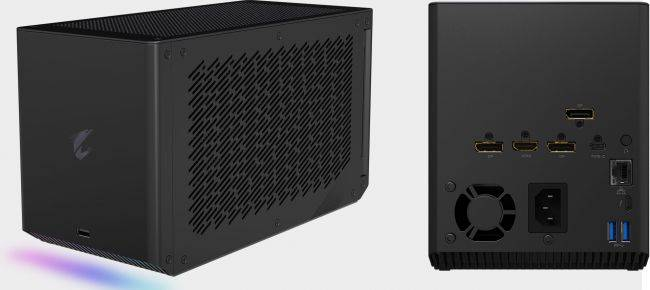 This external graphics box contains a liquid-cooled GeForce RTX 2080 Ti