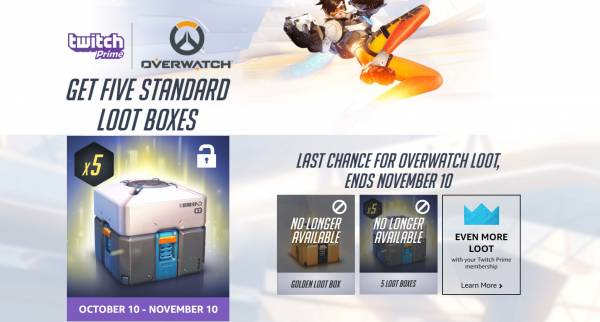 Get five bonus Overwatch loot boxes with Twitch Prime