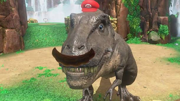 Watch Us Stomp Around As A T. Rex In Exclusive Super Mario Odyssey Gameplay