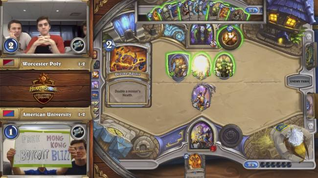 Collegiate Hearthstone Championship match ends with call to 'free Hong Kong, boycott Blizz'