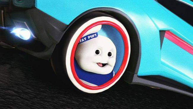 Stare into the horrible eyes of these Rocket League Stay Puft wheels
