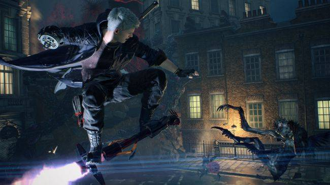 Devil May Cry 5 gameplay shows Dante hitting demons with his motorbike