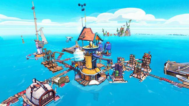 Flotsam, the game about building a floating town out of garbage, is now on Steam